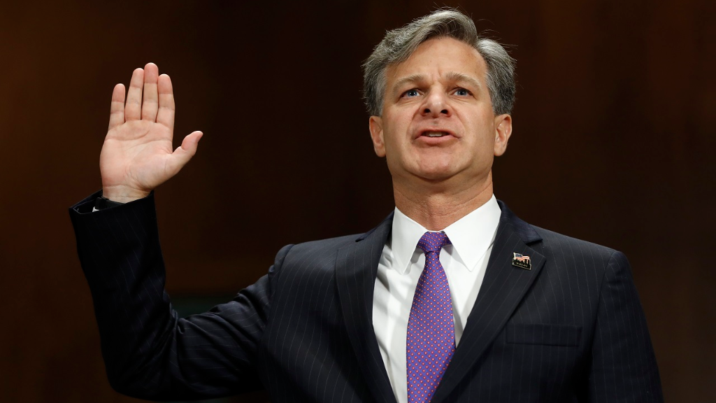 FBI Director nominee Christopher Wray is sworn-on on Capitol Hill in Washington, Wednesday, July 12, 2017, prior to testifying at his confirmation hearing before the Senate Judiciary Committee.