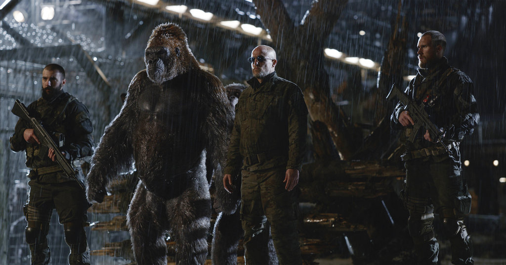 "This file image released by Twentieth Century Fox shows Woody Harrelson, center, in a scene from, ""War for the Planet of the Apes."" ""War for the Planet of the Apes"" took down ""Spider-Man: Homecoming"" at the North American box office, opening with an estimated $56.5 million in ticket sales, according to information available Sunday, July 16, 2017. (Twentieth Century Fox via AP, File)"