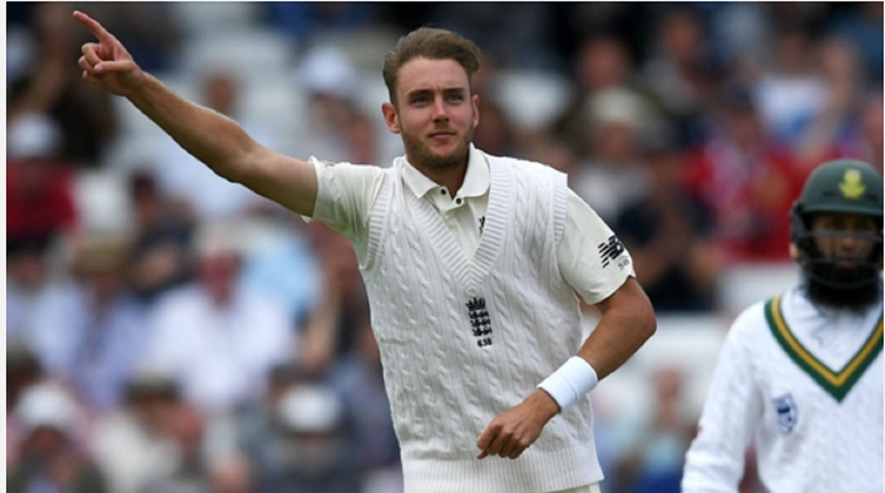 England's Stuart Broad celebrates a wicket against South Africa.