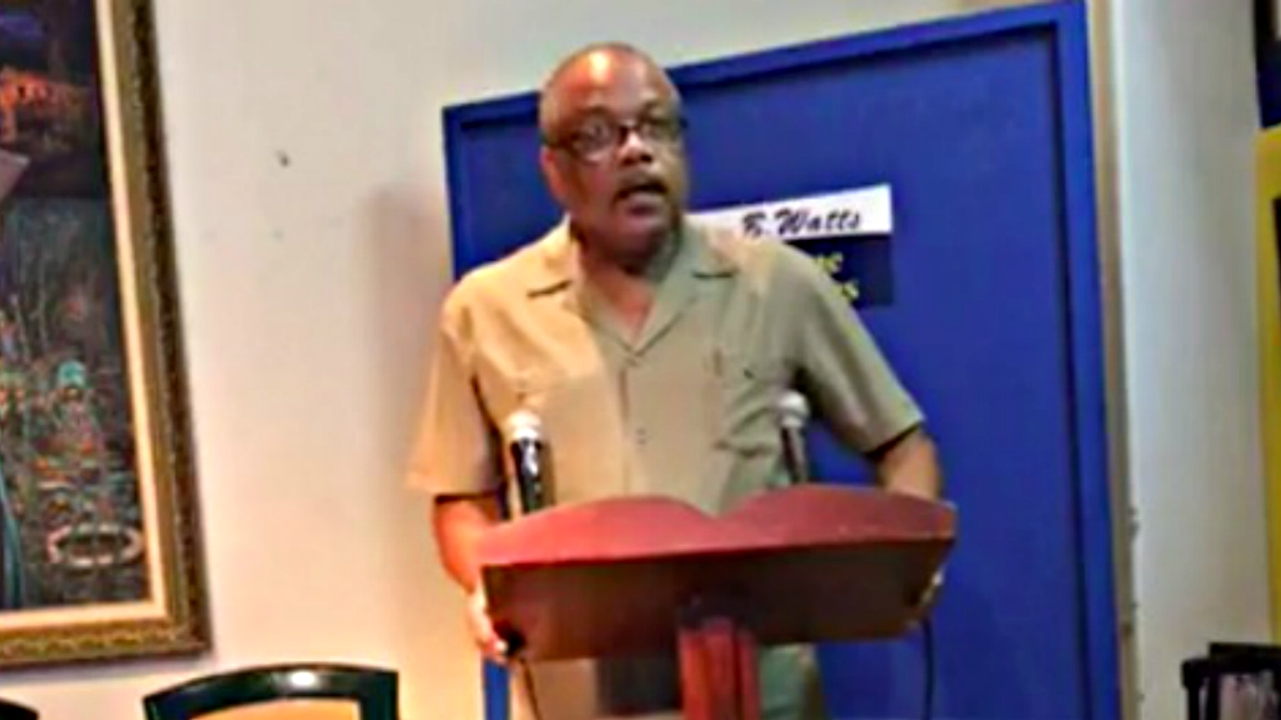 Health Minister John Boyce speaking at DLP headquarters this afternoon.