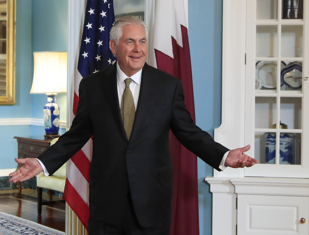 Secretary of State Rex Tillerson gestures as he responds to a reporter's question during a meeting with Qatar's Foreign Minister Sheikh Mohammed bin Abdulrahman Al Thani at the State Department in Washington, Wednesday, July 26, 2017.