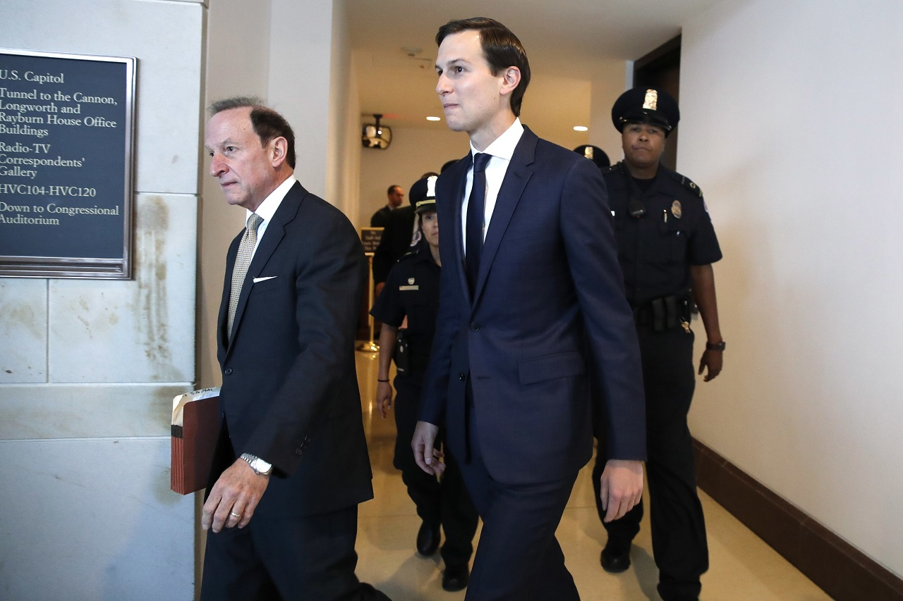 White House adviser Jared Kushner, center, and his attorney Abbe Lowell, left, arrive on Capitol Hill in Washington, Tuesday, July 25, 2017, to be interviewed behind closed doors by the House Intelligence Committee.