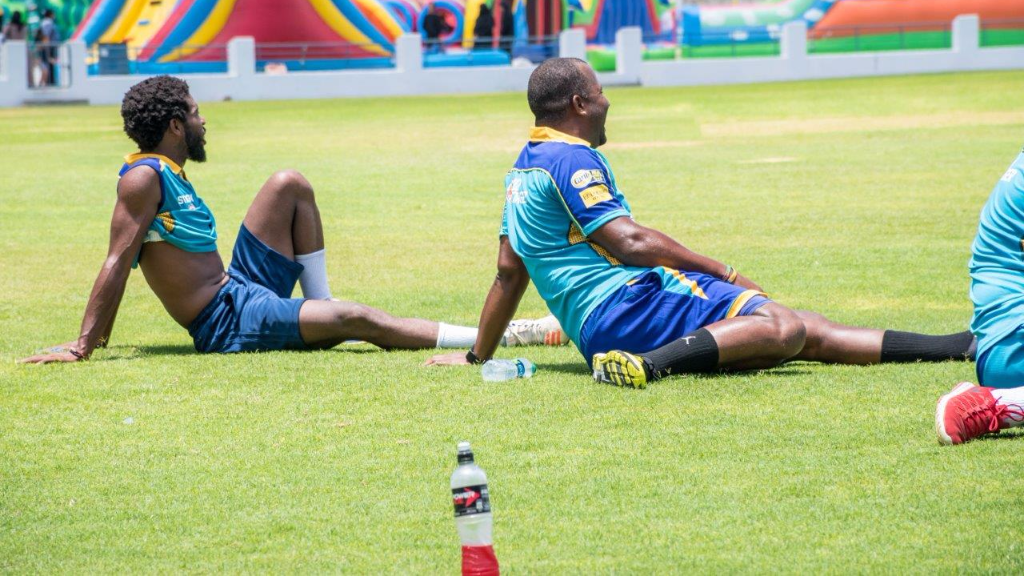 Barbados Tridents players refresh themselves with Powerade.