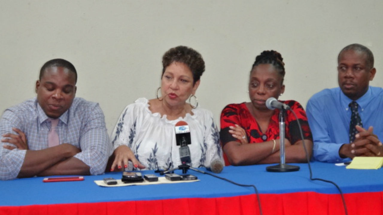 Union leaders at Thursday's meeting (L-R): Akanni McDowall, Mary Redman, Toni Thorne, Pedro Shepherd.