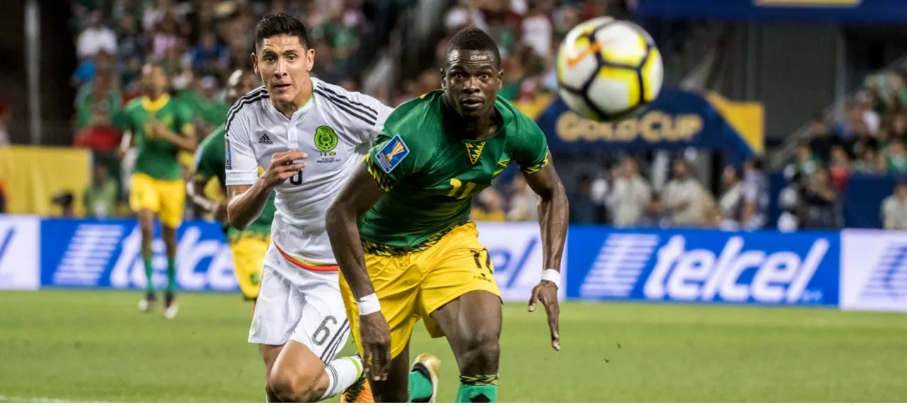 Action from the CONCACAF Gold Cup match between Jamaica and Mexico (white jersey) on July 13, 2017, in Denver, Colorado, USA. (Photo: COMCACAF).