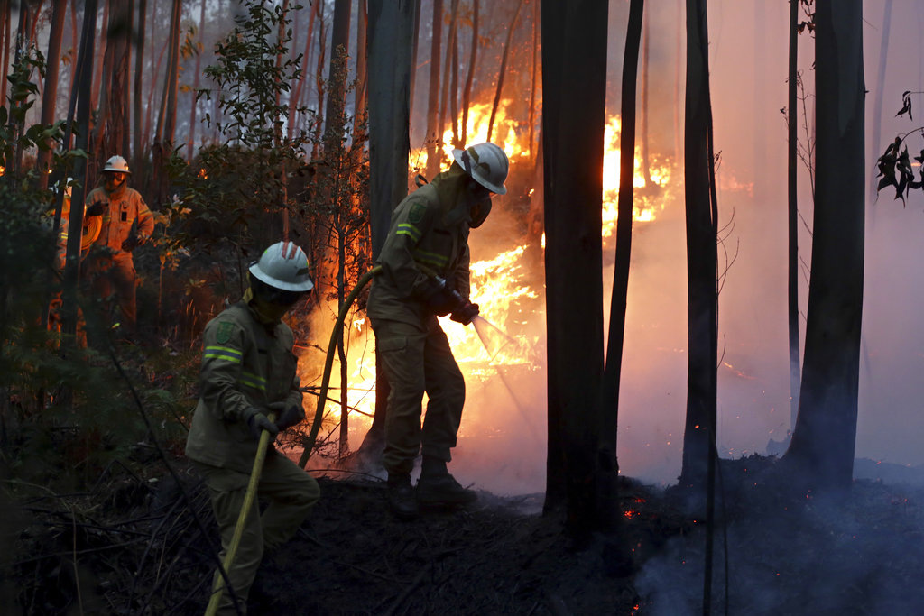 Firefighters of the Portuguese National Republican Guard work to stop a forest fire from reaching the village of Avelar, central Portugal, at sunrise Sunday, June 18 2017. A number of people have been killed in forest fires in central Portugal, many of them trapped in their cars as flames swept over a road Saturday evening. (AP Photo/Armando Franca)