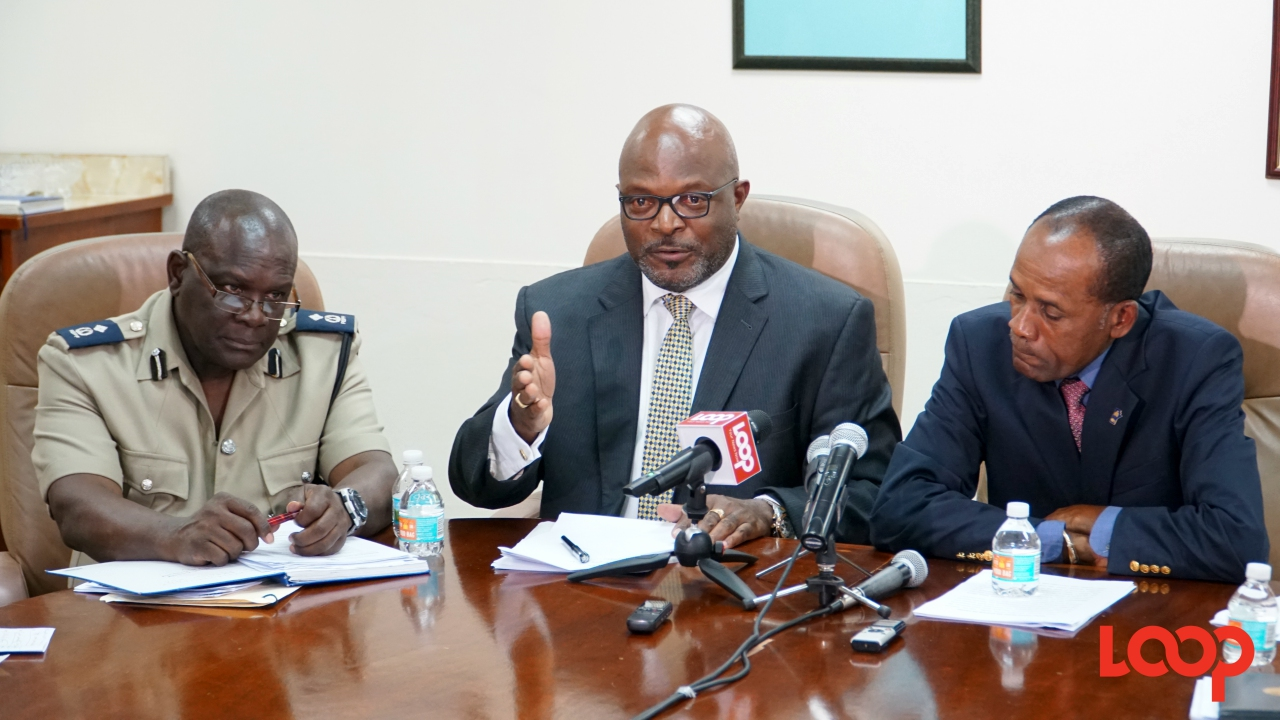 (L-R) Acting Deputy Commissioner, Oral Williams, Attorney General Adriel Brathwaite and acting Commissioner of Police, Tyrone Griffith. (PHOTO: Richard Grimes)