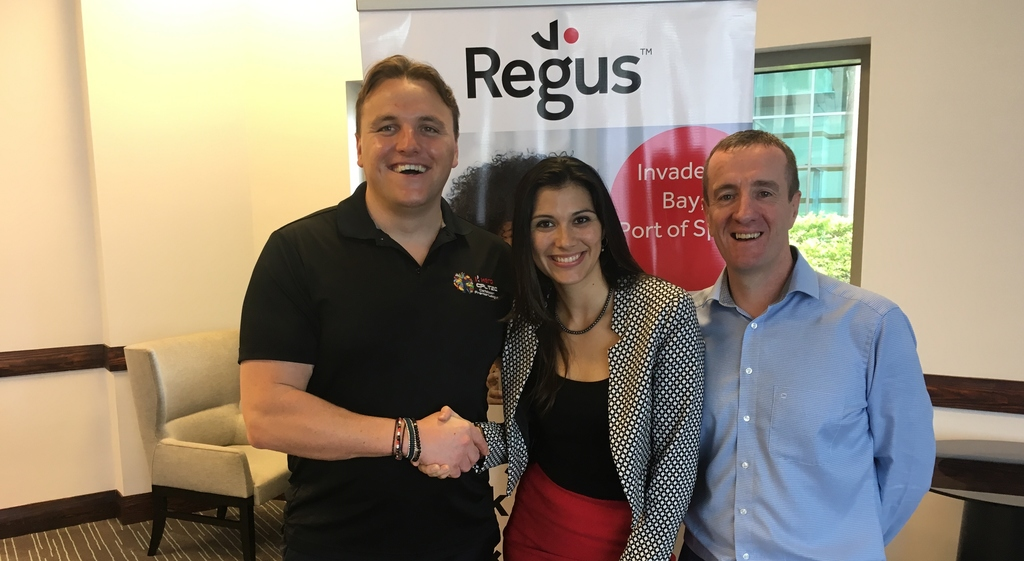 Damien O'Donohoe, CEO of Hero CPL pictured with  Stephanie Quesnel, General Manager Regus and Mark Linehan, Managing Director of Regus in the Caribbean