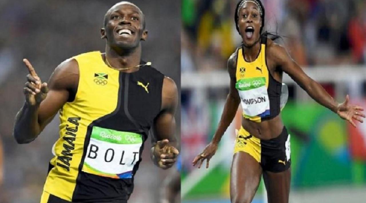 Global sprint star Usain Bolt and double Olympic champion Elaine Thompson.