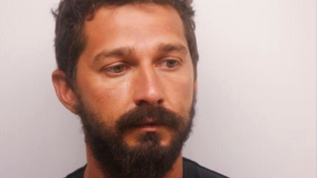 In this Saturday, July 8, 2017 photo released by the Chatham County Sheriff's Office, actor Shia LaBeouf poses for a booking photo, in Savannah, Ga. (Chatham County Sheriff's Office via AP)