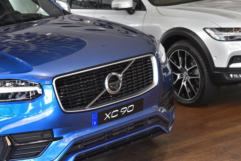 A Volvo XC 90 during an interview with Volvo Cars CEO Hakan Samuelsson at Volvo Cars Showroom in Stockholm, Sweden, Wednesday, July 5, 2017. Samuelsson said that all Volvo cars will be electric or hybrid within two years. The Chinese-owned automotive group plans to phase out the conventional car engine. (Jonas Ekströmer/TT via AP)