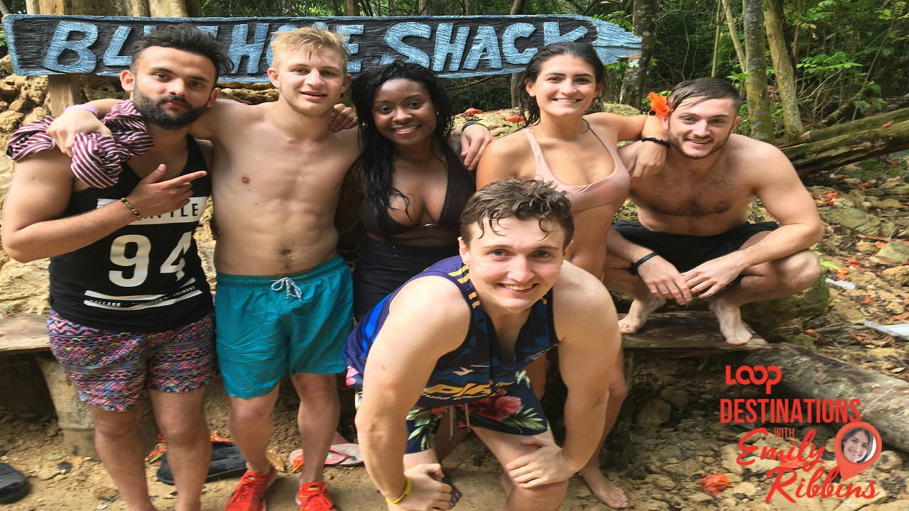 Emily (second right) with friends at Blue Hole.