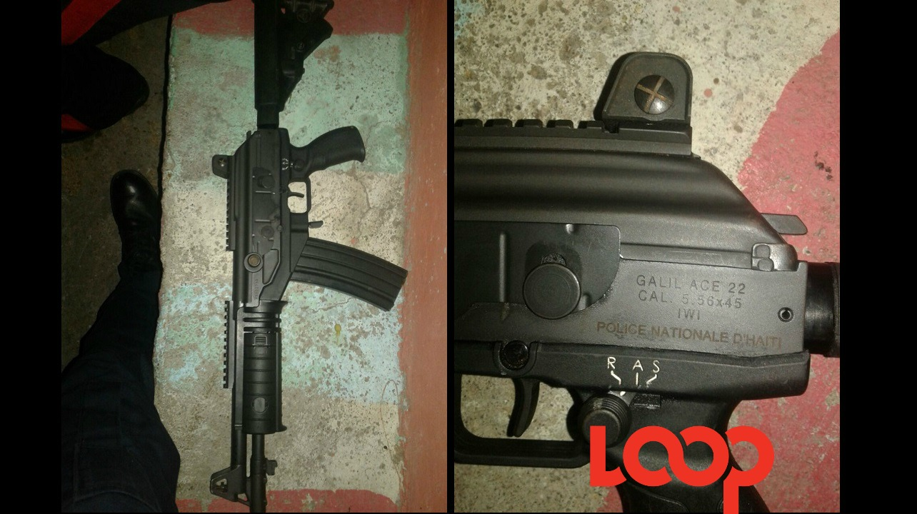 The Galil rifle, registered to the Hatian police, seized in Rockfort, Kingston on Sunday.
