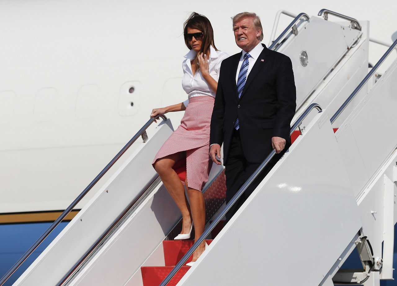 President Donald Trump and first lady Melania Trump arrive on Air Force One at Morristown Municipal Airport, in Morristown, N.J., Friday, June 30, 2017, en route to Trump National Golf Club in Bedminster, N.J.