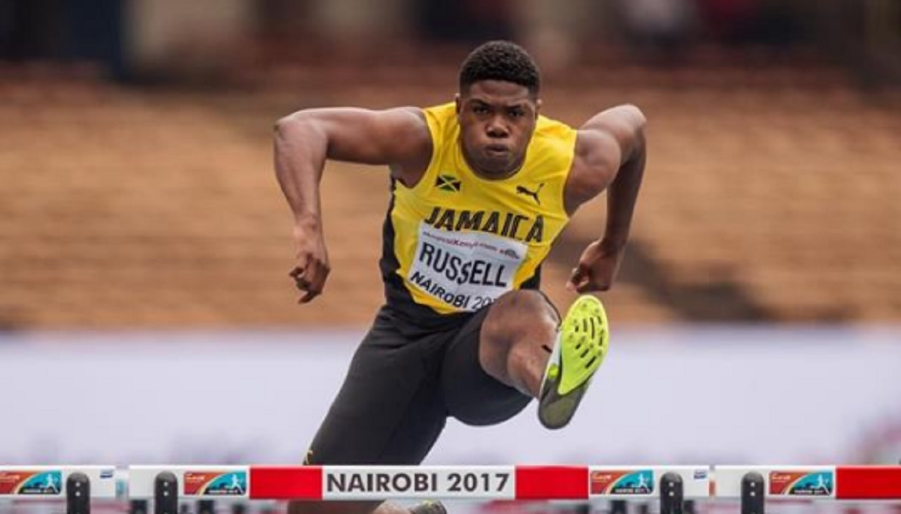 Jamaican De'Jour Russell ... the big favourite for the gold medal in the boys' 110m hurdles on Friday.