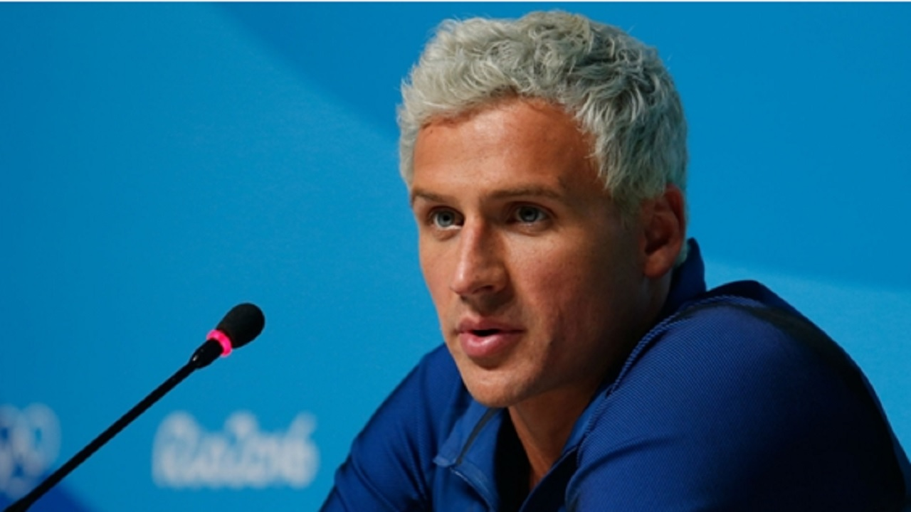 Ryan Lochte speaking to the media in Rio.