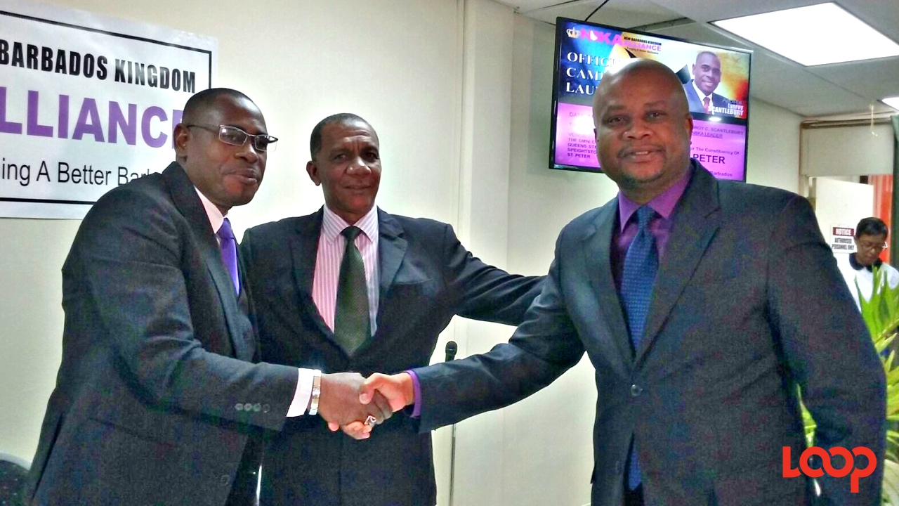(L-R) Apostle Lynroy Scantlebury of the New Barbados Kingdom Alliance, David Gill of the Citizens' Action Programme and Neil Holder of the Barbados Integrity Movement at this morning's campaign launch.