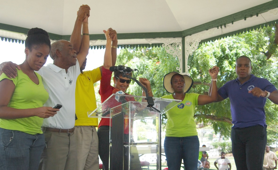 (l-r) A representative of the Barbados Workers Union (BWU), Assistant General Secretary of the BWU, Orlando 'Gabby' Scott; President of the Barbados Union of Teachers, Pedro Shepherd; President of the Barbados Secondary Teachers Union, Mary Redman; General Secretary of the BWU, Toni Moore and President of the National Union of Public Workers, Akanni McDowall.