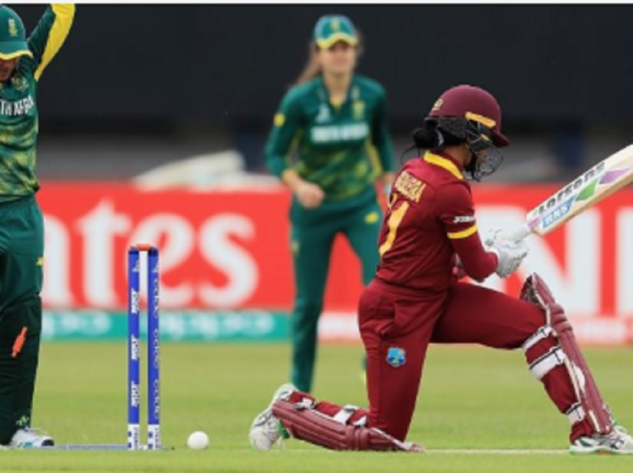 Action from the West Indies, South Africa match in the ICC Women's World Cup on Sunday.
