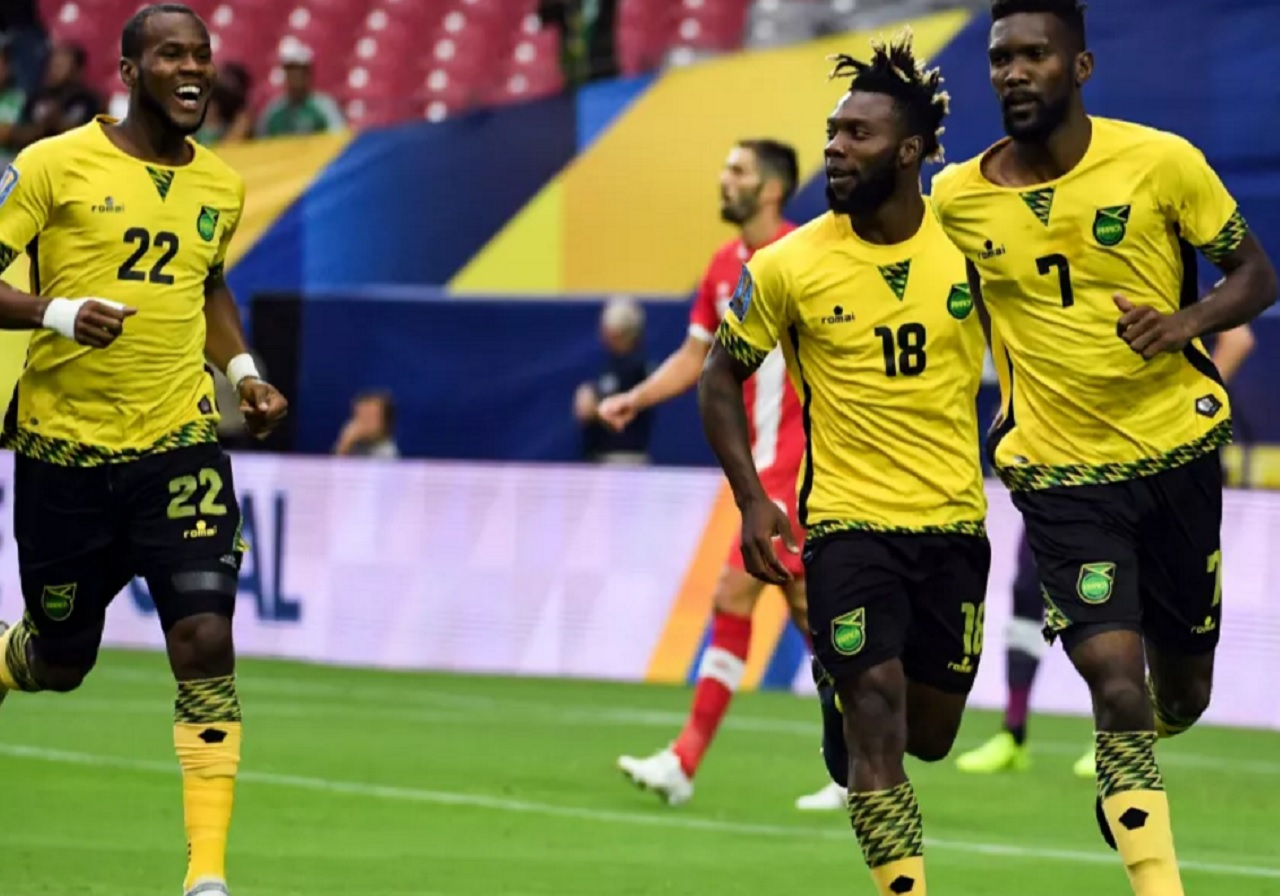 Jamaica's Shaun Francis (#7) goes to celebrate after scoring against Canada during their CONCACAF Gold Cup quarterfinal on July 20, 2017, in Glendale, Arizona, USA. (PHOTO: CONCACAF.COM).