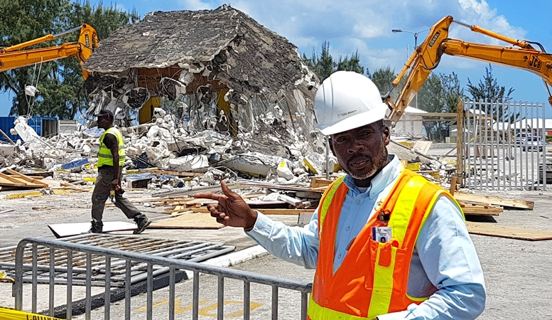 Captain Karl Branch, Divisional Manager Corporate Development and Strategy at the Bridgetown Port Inc. during Sunday's demolition.
