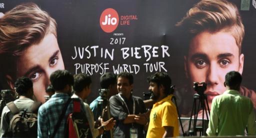 Une affiche du concert de Justin Bieber en Inde, le 10 mai 2017