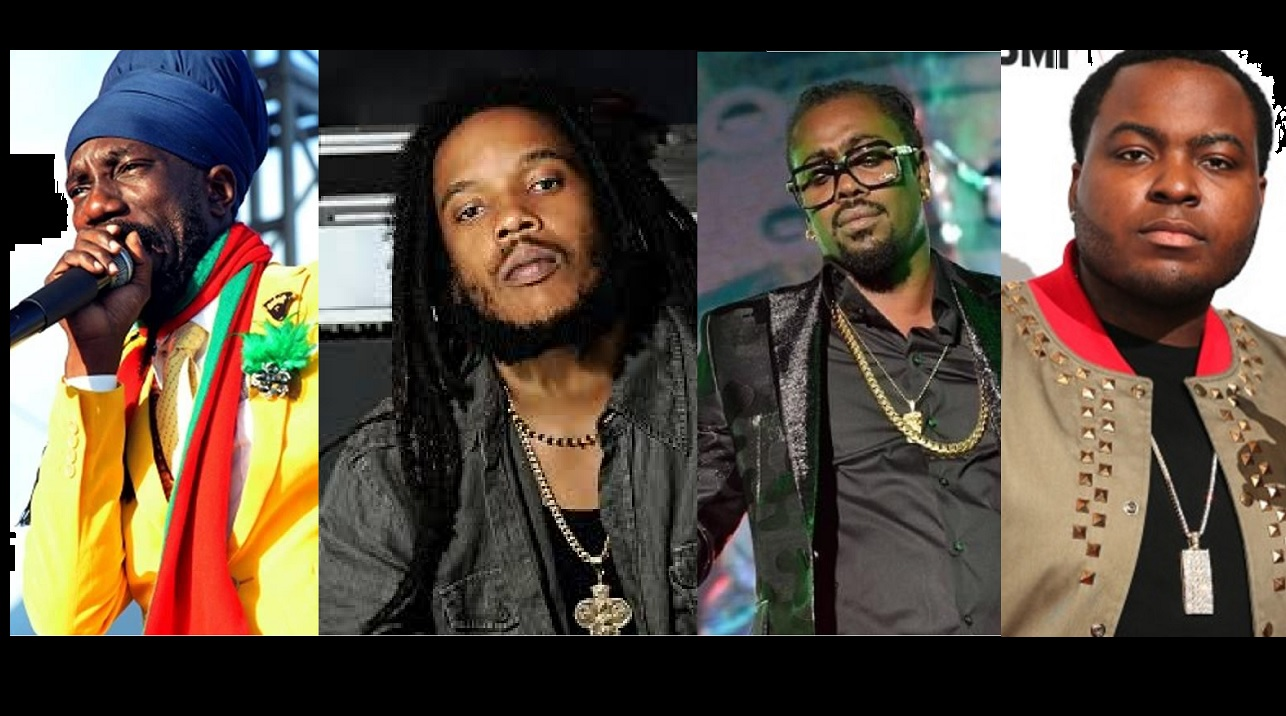 (From left) Sizzla, Stephen Marley, Beenie Man, and Sean Kingston.