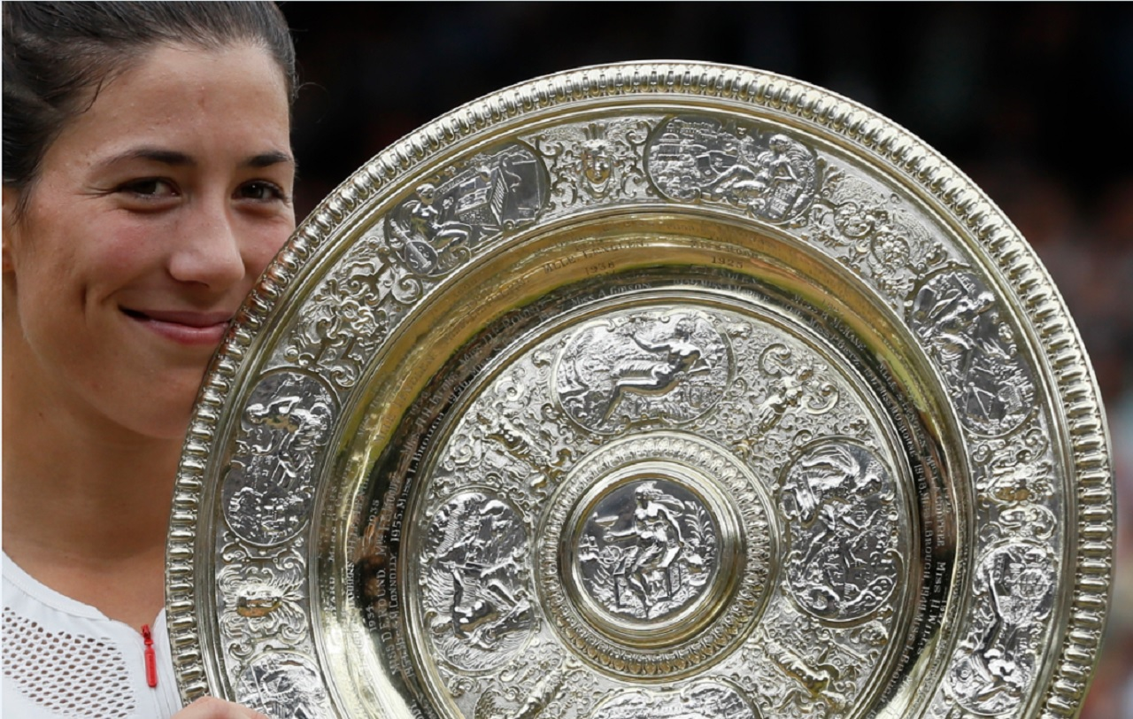 Spain's Garbine Muguruza holds the trophy after defeating Venus Williams of the United States in the Women's Singles final match on day twelve at the Wimbledon Tennis Championships in London Saturday, July 15, 2017.