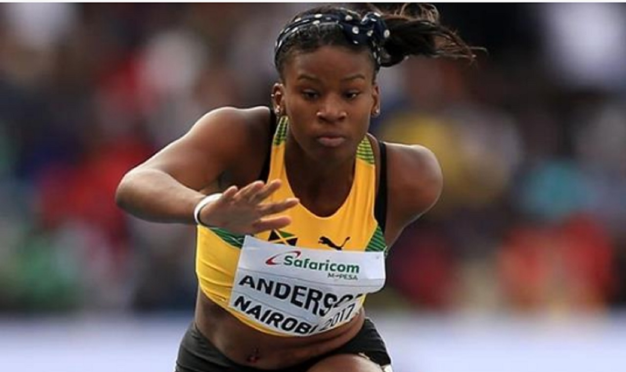 Jamaican Britanny Anderson powers home to win the girls' 100m hurdles final on Sunday's final day of the  IAAF World U18 Championships in Nairobi, Kenya. (PHOTO: IAAF).