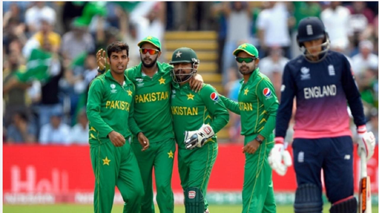 Pakistan celebrate against England.