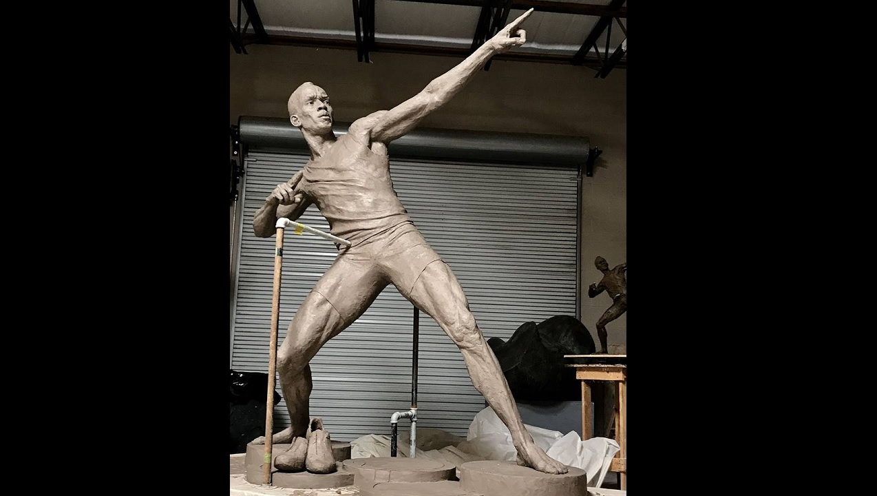The latest photo of the statue of Usain Bolt that is presently being cast at the Inferno Foundry in Atlanta, Georgia.