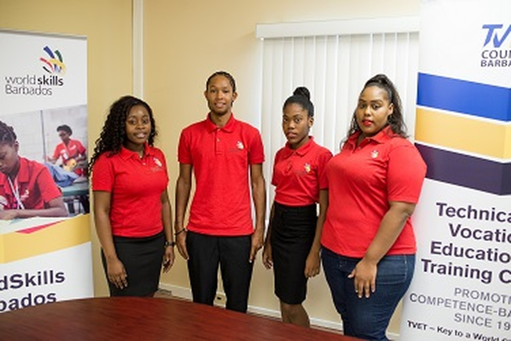 Competitors representing Barbados at WorldSkills Abu Dhabi are (L-R) Takiya Jordan, Hairdressing; Akeil Craig-Browne, Automotive; Roshida Griffith, Garment, and Tinisha Hall, Culinary Arts.