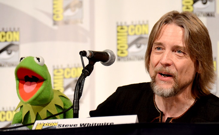 """In this July 11, 2015, file photo, Kermit the Frog, left, and puppeteer Steve Whitmire attend """"The Muppets"""" panel on day 3 of Comic-Con International in San Diego. ABC News and The Hollywood Reporter reported July 10, 2017, that Whitmire is no longer performing the character. (Photo by Tonya Wise/Invision/AP, File)"""