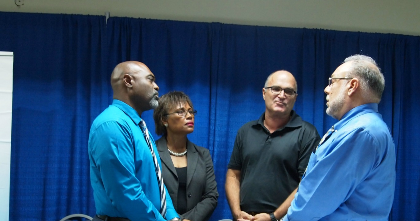 (L-R) Chief Executive Officer of the Barbados Hotel and Tourism Association (BHTA), Rudy Grant; Chief Executive Officer of the Barbados Private Sector Association (BPSA) Anne Reid; Chairman of the BPSA, Charles Herbert; and President of the Barbados Chamber of Commerce and Industry (BCCI), Eddie Abed.