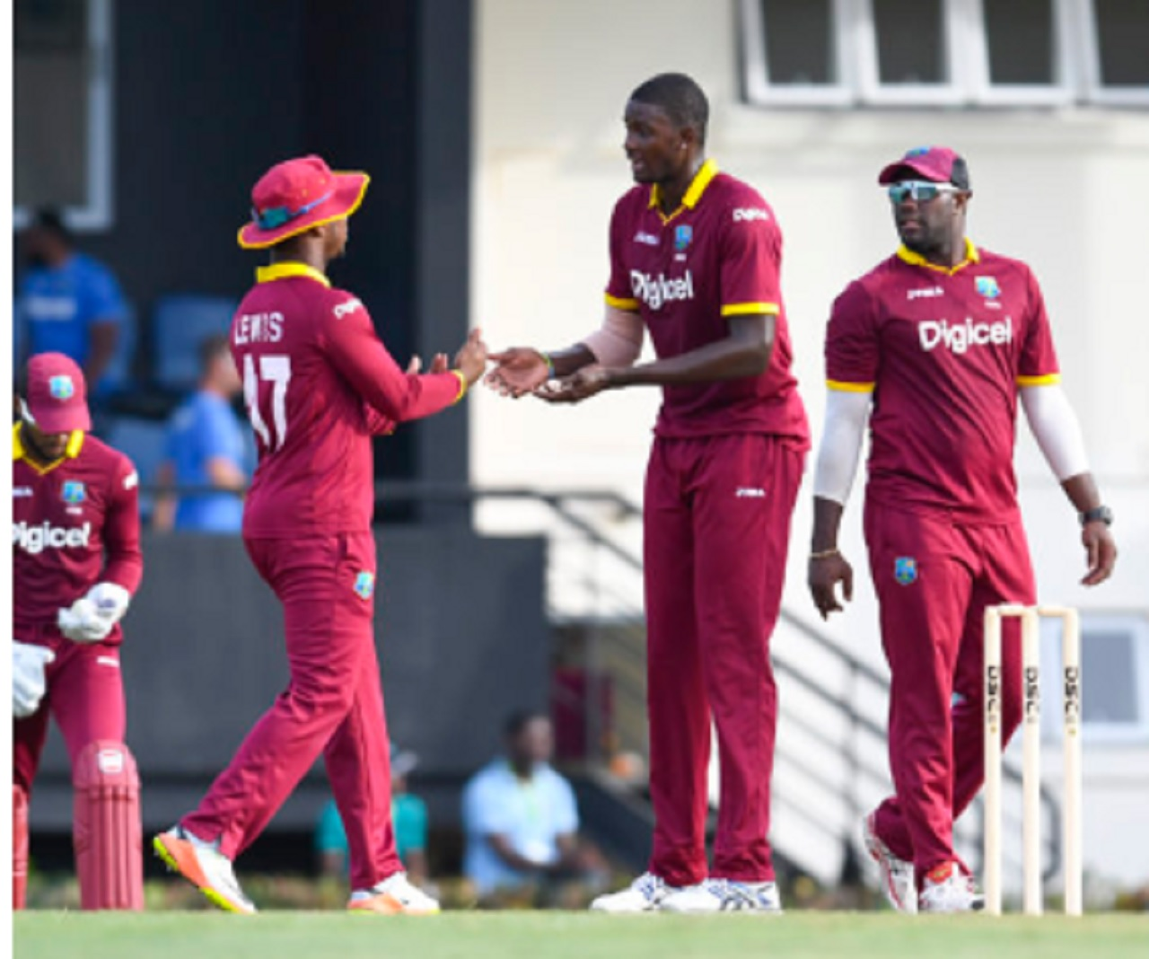 West Indies players celebrating.