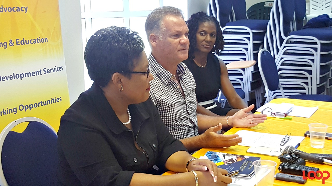The Small Business Association held a press breifing this morning and comments were made by CEO Lynette Holder, President Dean Straker, and Vice President Gayle Headley-Lowe.