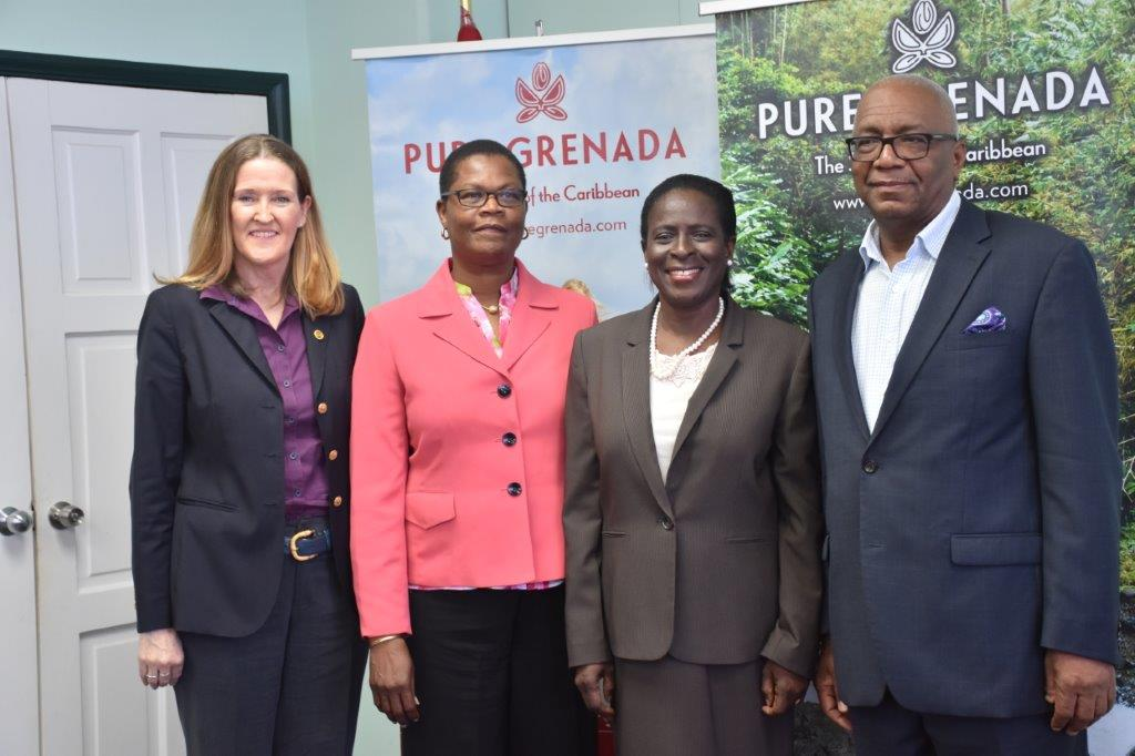 From left to right: Patricia Maher-CEO of the Grenada Tourism Authority, Sylma Brown Bramble- CTO Director USA, Hon. Clarice Modeste Curwen-Minister for Tourism and Civil Aviation, Rodney George-Chairman of the Grenada Tourism Authority