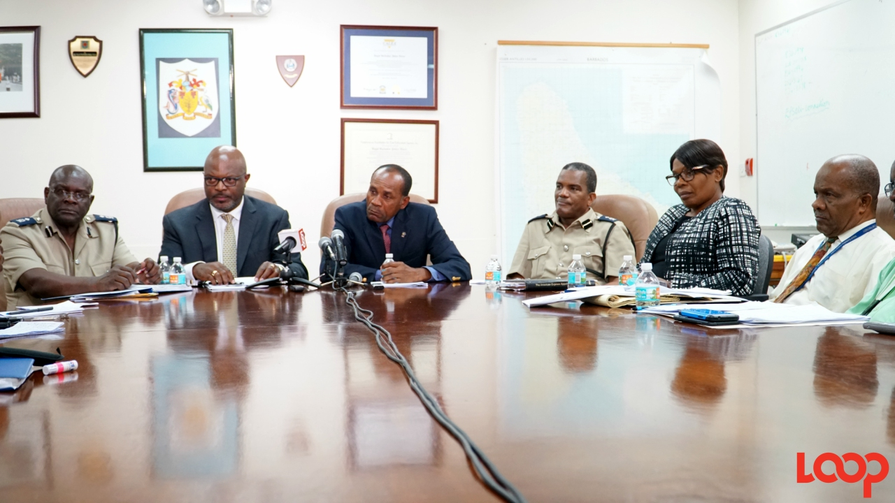 (L-R) acting Deputy Commissioner, Oral Williams; Attorney General Adriel Brathwaite, acting Commissioner of Police, Tyrone Griffith; Assistant Commissioner Erwin Boyce; acting Assistant Commissioner Lila Strickland; and Assistant Commissioner Lybron Sobers, Officer in charge of crime. (PHOTO: Richard Grimes)