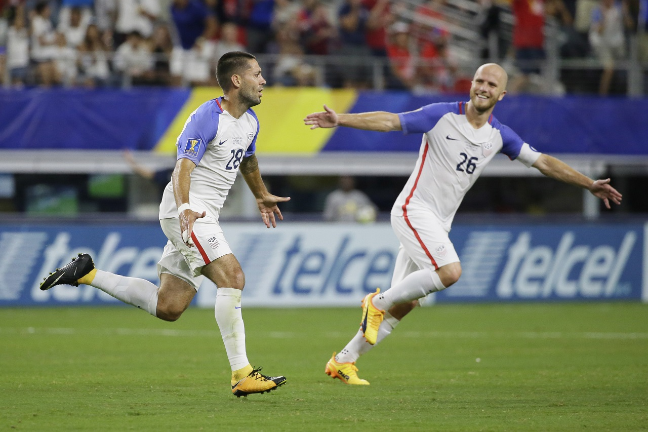 United States' Clint Dempsey, left, celebrates after scoring a goal against Costa Rica during their CONCACAF Gold Cup semifinal football match in Arlington, Texas on Saturday night.