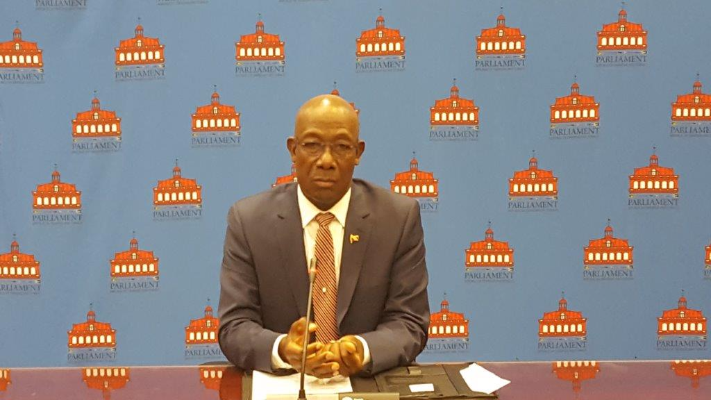 Prime Minister Dr Keith Rowley addresses the media at a briefing following a three-hour long meeting with the Opposition Leader on Tuesday
