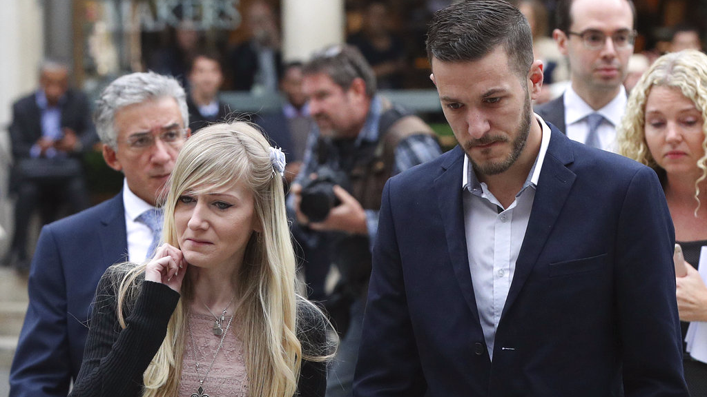 The parents Charlie Gard the critically ill infant Chris Gard and Connie Yates arrive at the Royal Courts of Justice in London ahead of the latest High Court hearing in London Monday July 24, 2017 . They returned to the court for the latest stage in their effort to seek permission to take the child to the United States for medical treatment. Jonathan Brady/PA via AP)