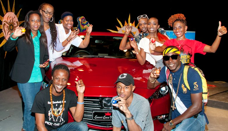 2017 Sweet Soca finalists and their representatives draw for positions.