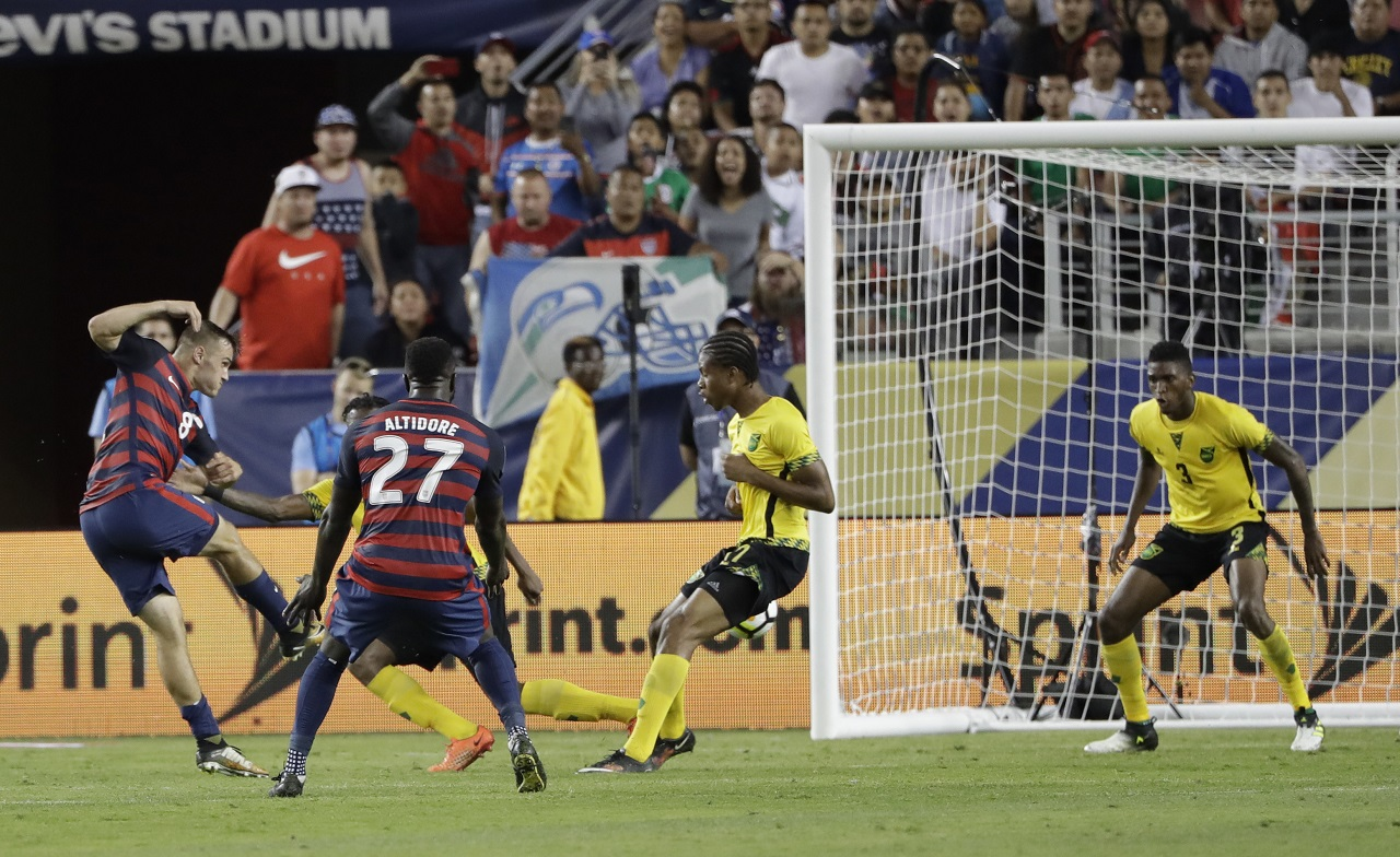 United States' Jordan Morris scores his team's second goal against Jamaica during the second half of the Gold Cup final in Santa Clara, Calif., on Wednesday night.