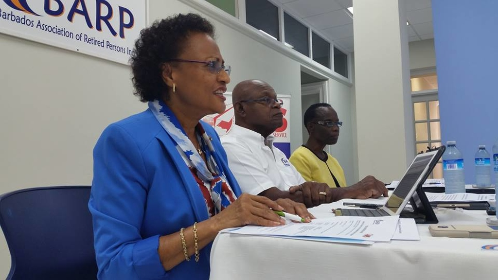 Executive Manager of the Barbados Association of Retired Persons (BARP), Elsa Webster (left), speaks during the press briefing. (BARP Facebook Page)