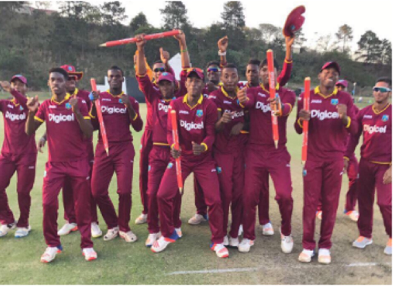 West Indies Under-19 players celebrating following a dramatic series victory against South Africa in Durban on Wednesday.