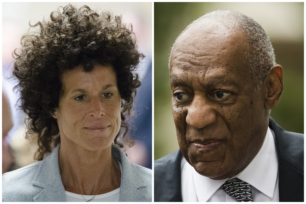 This photo combination of file photos show, Andrea Constand, left, walking to the courtroom during Bill Cosby's sexual assault trial June 6, 2017, at the Montgomery County Courthouse in Norristown, Pa.; and Bill Cosby, right, arriving for his sexual assault trial June 16, 2017, at the Montgomery County Courthouse in Norristown, Pa.