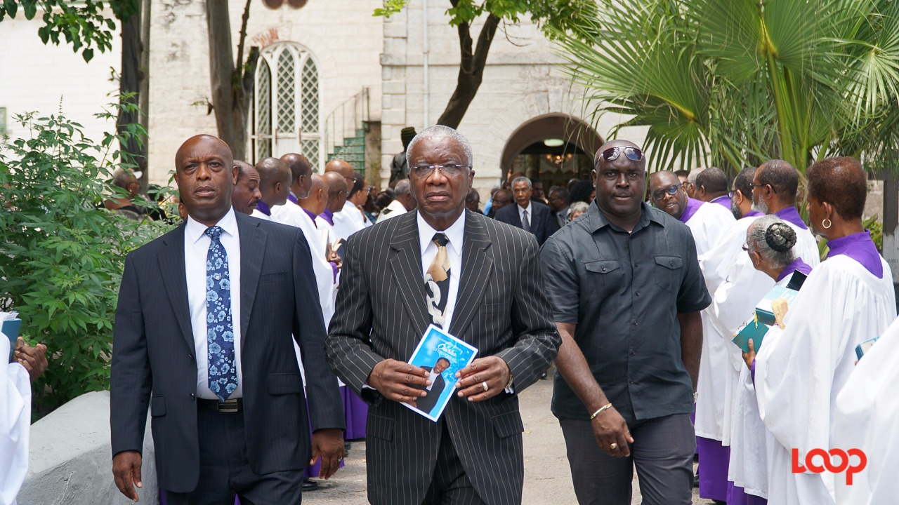 (center) The Rt. Hon. Freundel Stuart attended the funeral of the late Director of Public Prosecutions (DPP) Charles Leacock Q.C.