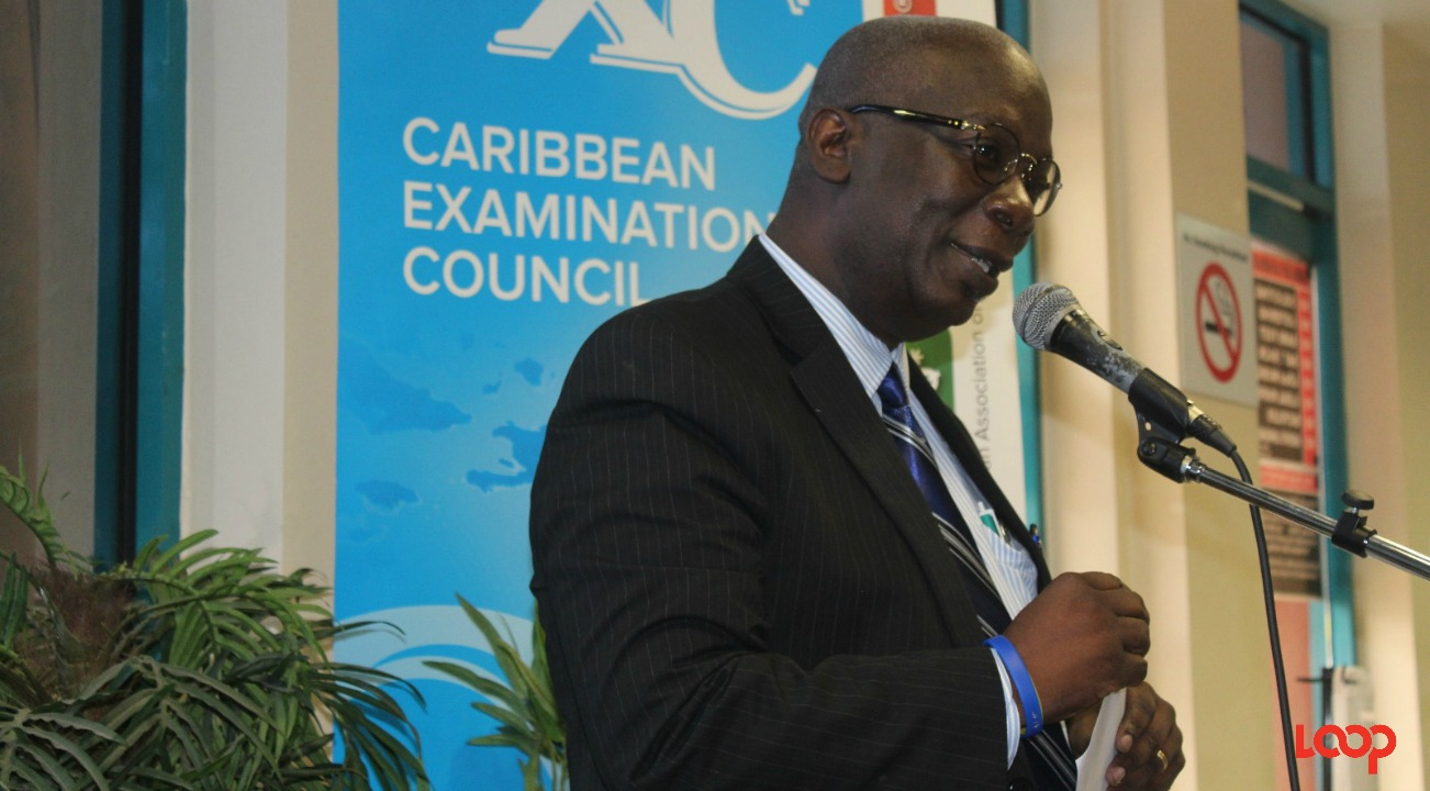 Minister of Education Ronald Jones at the launch of CXC Connect mobile app.