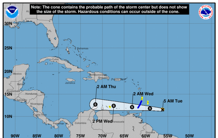 Forecast track for Tropical Storm Don at 5 a.m.