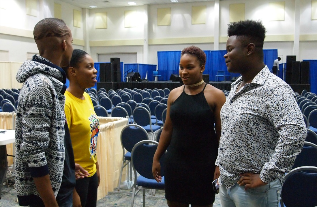(L-R) Sir Reuel, AC, Sammy Gee and JSlo in conversation after the announcement of the semi-finalists in the 2017 Pic-o-de-Crop competition.